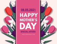 Mother's day, event, greeting,retail Postcard template