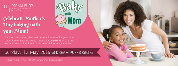 Mother's Day Bake Sale Promotion Facebook Banner Zdjęcie w tle na Facebooka template