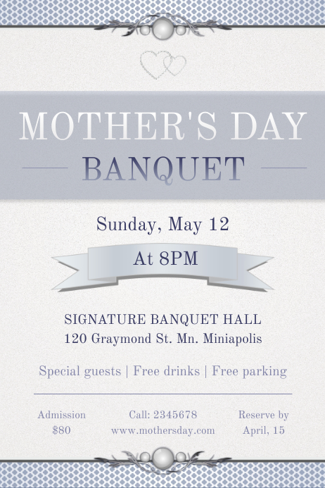 Mother's Day Banquet Invitation in White Poster Template