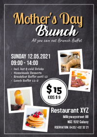 Mother's Day Brunch Buffet all you can eat Flyer Chalk Board A4 template