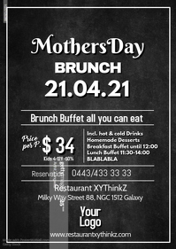 Mother's Day Brunch Buffet Breakfast Flyer Poster Restaurant