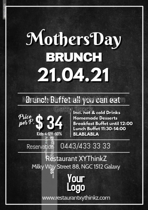 Mother's Day Brunch Buffet Breakfast Flyer Poster Restaurant