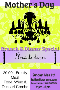 Mother's Day Brunch/Dinner Invitation/Restaurant/ Dia Madres