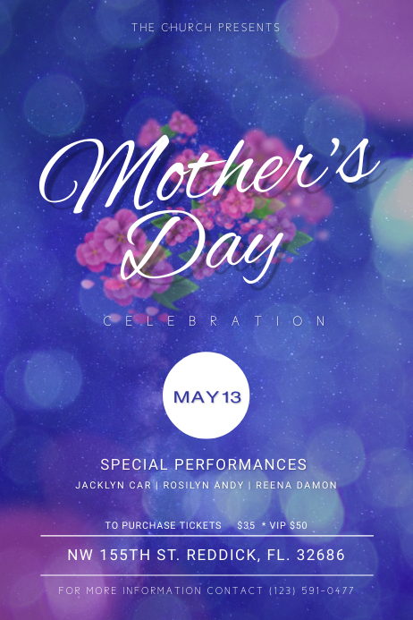 Mother's Day Church Celebration Poster template