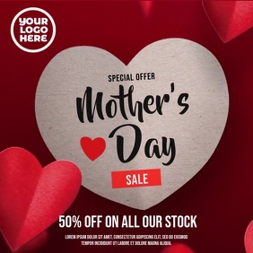 Mother's Day Falling Hearts Sale Ad Square (1:1) template