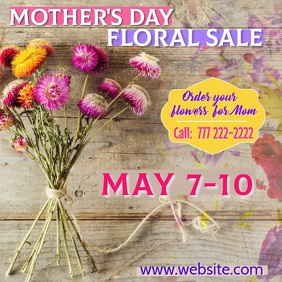 Mother's Day Floral Sale Video Kwadrat (1:1) template