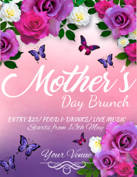 Mother's Day Flyer, Happy Mother's Day, Mother's Day Brunch 传单(美国信函) template