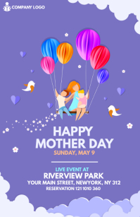 Mother's Day Flyer Demi-page de format Wide template