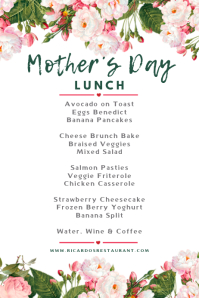 Mother's Day Lunch Menu Template
