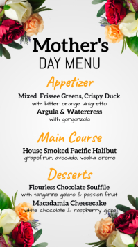 mother's day menu, mother's day, menu Digital Display (9:16) template