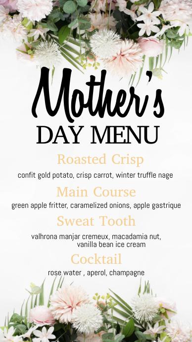 mother's day menu, mother's day, menu Digital Display (9:16) template