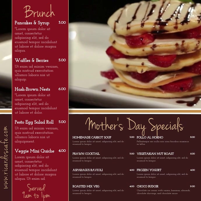 Mother's Day Menu Video Template Square (1:1)