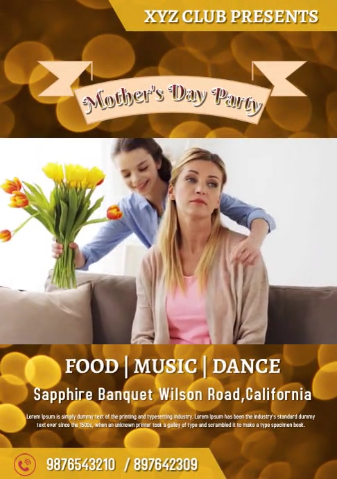 Mother's Day Party Event Template Design A4