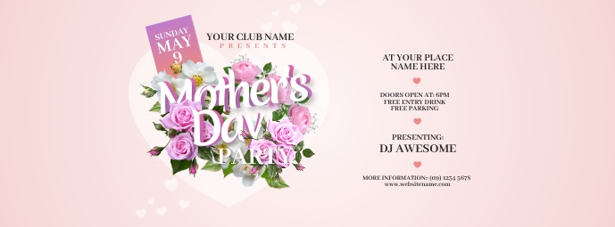 Mother's Day Party Facebook Cover Photo Zdjęcie w tle na Facebooka template
