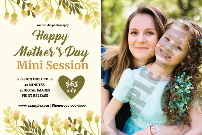 Mother's Day Photography Mini Session Etiqueta template