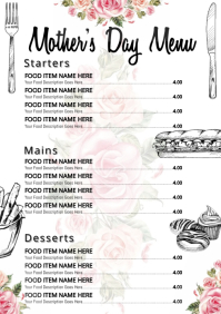 Mother's Day Restaurant Menu Template