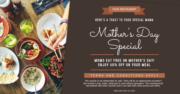Mother's Day Restaurant Special Offer Gift Certificate