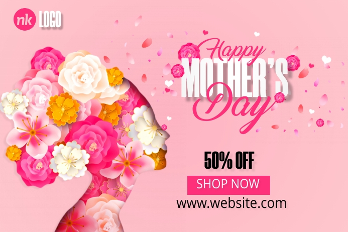 Mother's Day Sale Banner 4 x 6 fod template