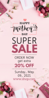 Mother's Day Sale Roll-Up Banner Cartel enrollable de 3 × 6 pulg. template