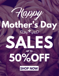 Mother's day sales up to 50% off Folheto (US Letter) template