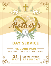 Mother's Day Service Flyer Design Dove Рекламная листовка (US Letter) template