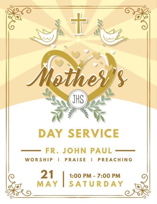 Mother's Day Service Flyer Design Dove 传单(美国信函) template