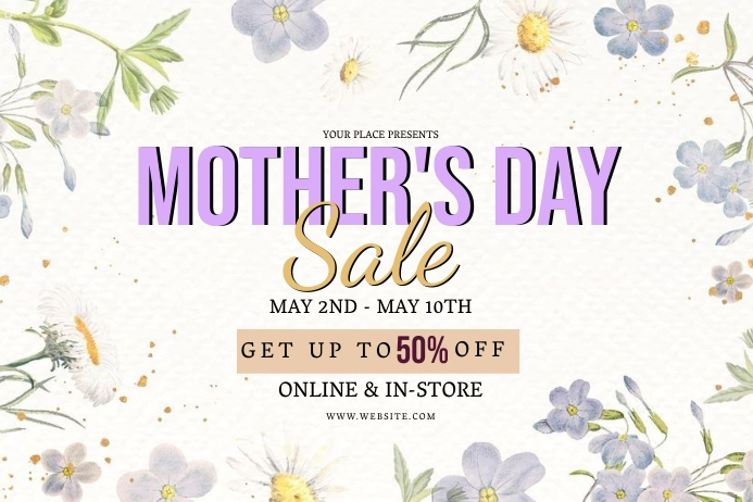 MOTHER'S DAY STORE SALE Event Flyer Template Banner 4' × 6'