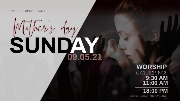 mother's day Sunday Church Event Template YouTube 缩略图