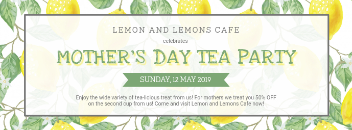 Mother's Day Tea Party Invitation Banner Zdjęcie w tle na Facebooka template