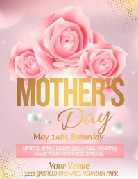 Mother's Day Video, Happy Mother's Day Flyer (Letter pang-US) template
