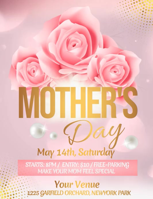 Mother's Day Video, Happy Mother's Day Løbeseddel (US Letter) template