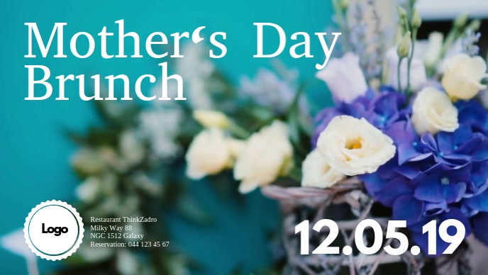 Mother's Day Brunch Flowers Blue Restaurant Ad Video