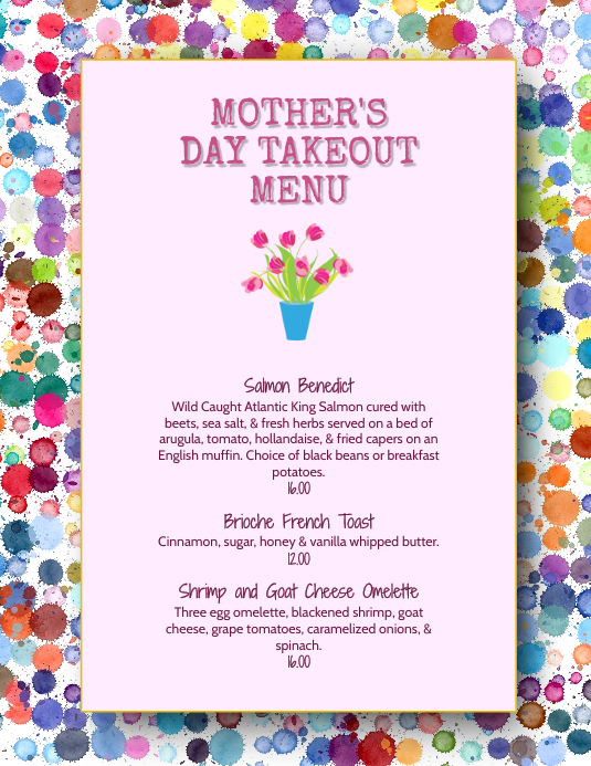 Mother's Day Menu Specials Flyer Template | PosterMyWall