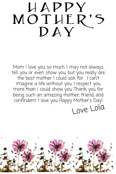 Mother Day Card Template  Postermywall