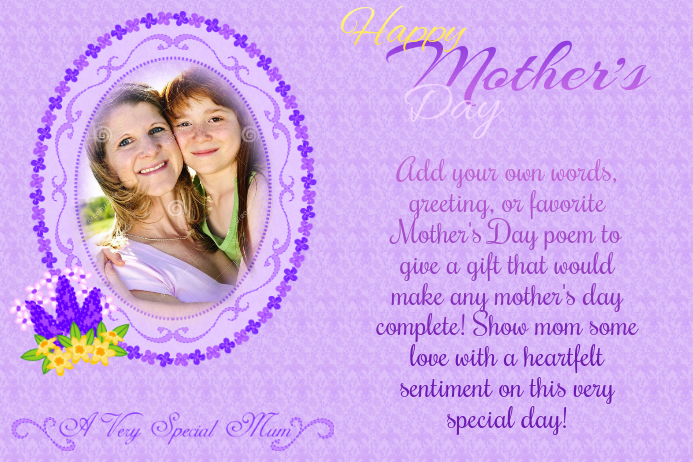 Mother's Day Card Greeting Collage Scrapbook Gift Love Poem Mom Daughter Purple Art Family