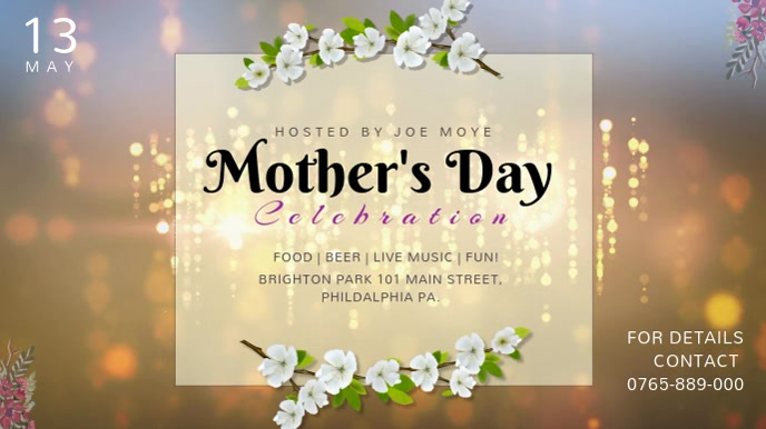 Mother's Day Celebration Event Video Template Digitalanzeige (16:9)