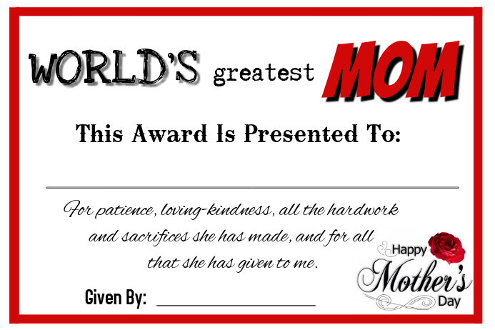 Mother S Day Certificate Template Postermywall