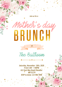 Mothers brunch theme Party Invitations A6 template