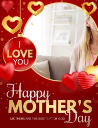 Mothers day ,i love you Mom Pamflet (Letter AS) template