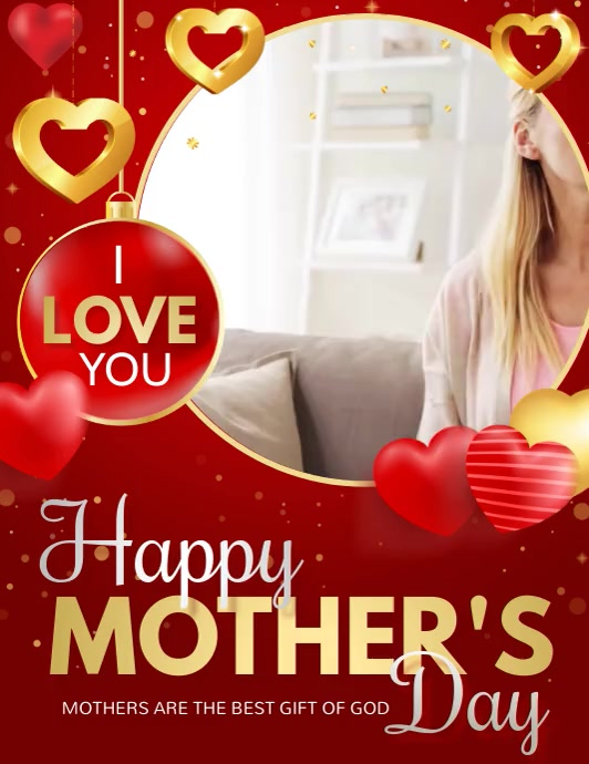 Mothers day ,i love you Mom Ulotka (US Letter) template
