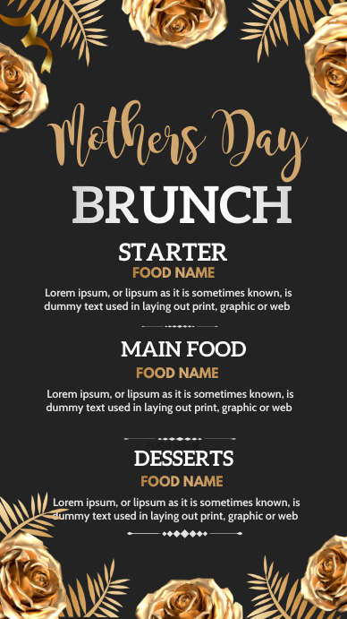 Mothers day brunch,menu Instagram 故事 template