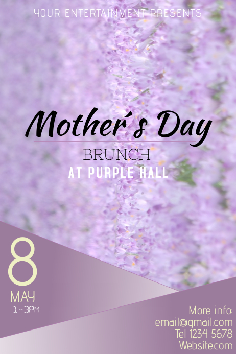 Mothers Day Brunch Purple Flyer template