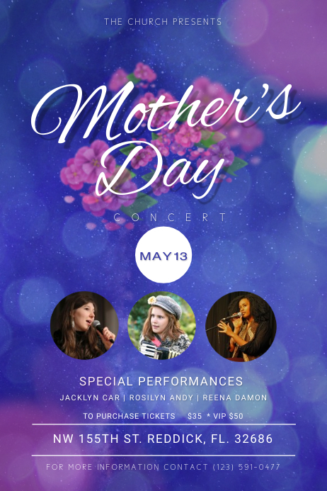 Mothers Day Church Concert Poster Template