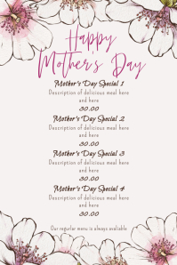Mothers Day Menu Floral Watercolor Poster template