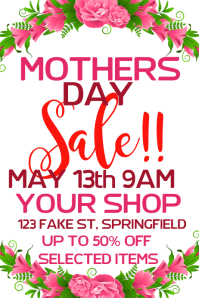 Mothers Day Sale Poster