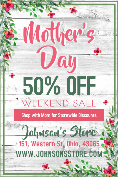 Mothers Day Sale Poster Template 海报