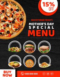 Mothers Day Special Menu Discount offer ad te Flyer (US Letter) template