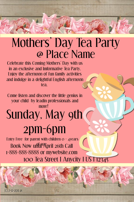 Mothers Day Tea Party Template Postermywall