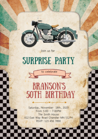 Motorbike birthday party invitation A6 template