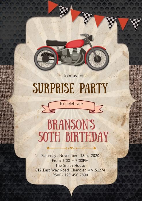 Motorbike birthday party invitation